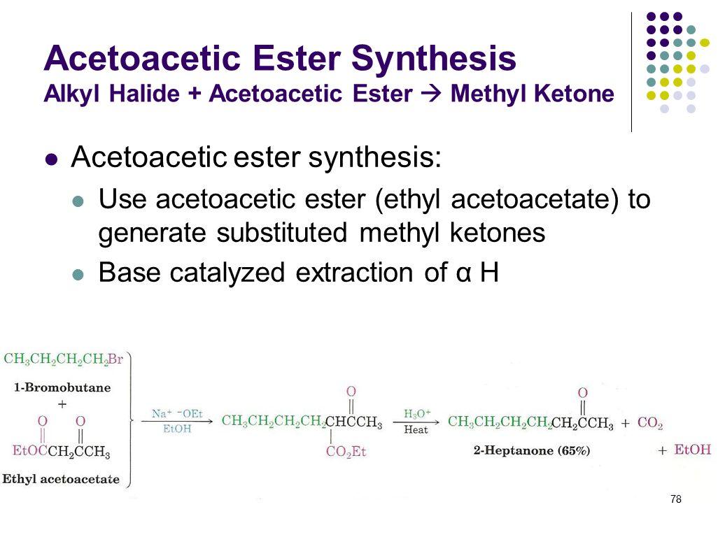 Acetoacetic Ester Synthesis Alkyl Halide + Acetoacetic Ester  Methyl Ketone