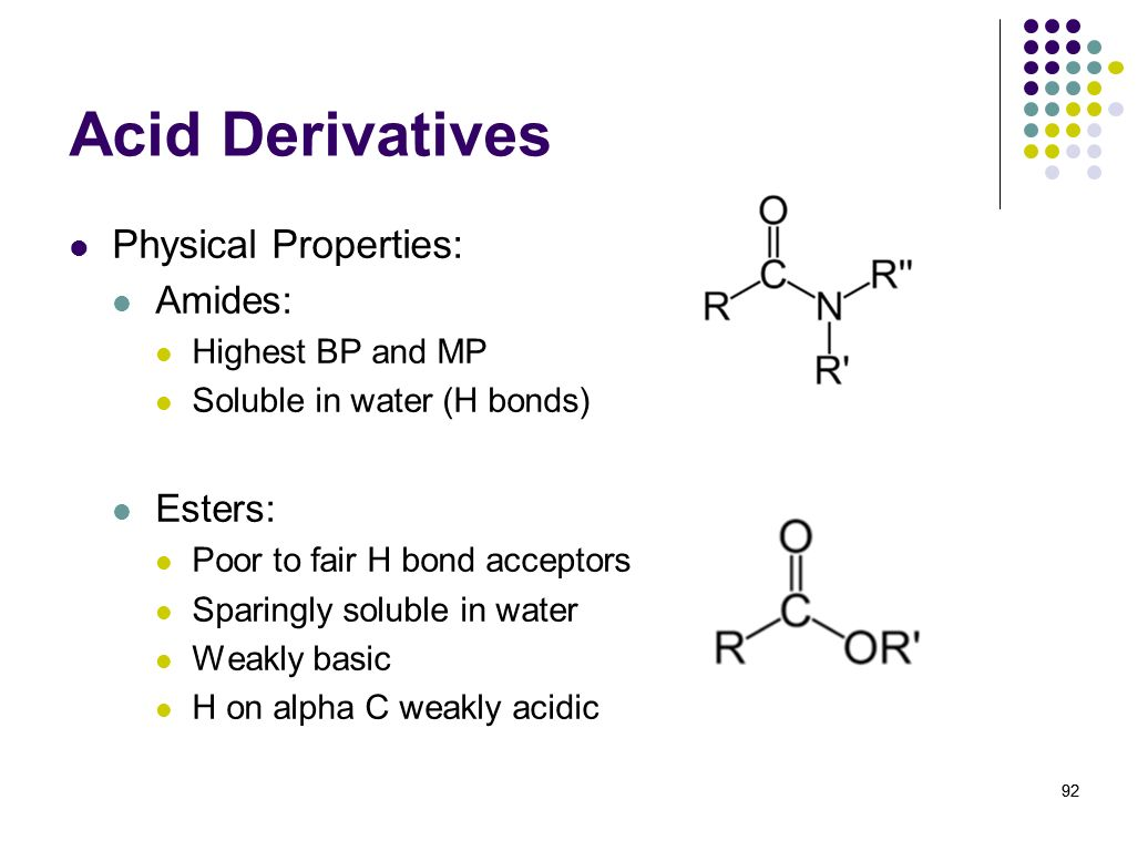 Acid Derivatives Physical Properties: Amides: Esters: