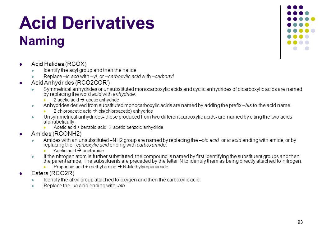 Acid Derivatives Naming