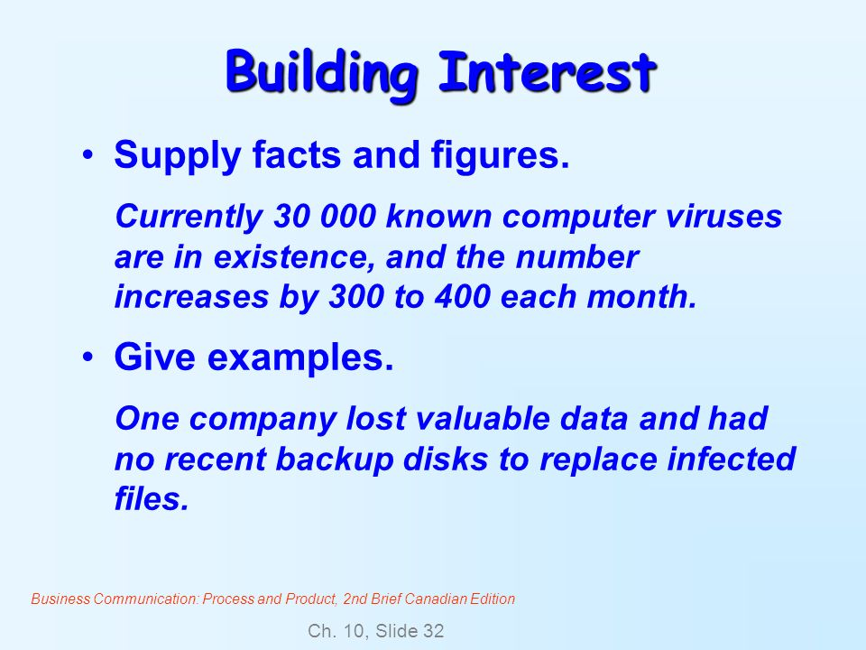Building Interest Supply facts and figures. Give examples.