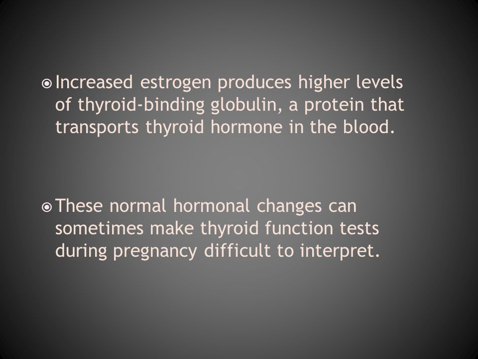 Increased estrogen produces higher levels of thyroid-binding globulin, a protein that transports thyroid hormone in the blood.