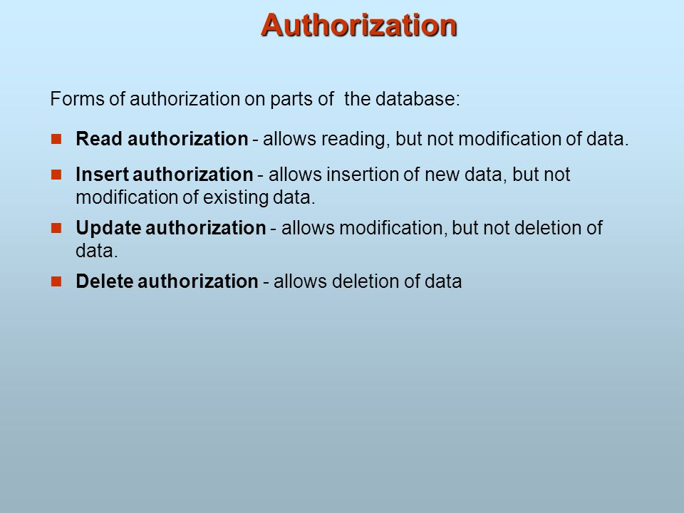 Authorization Forms of authorization on parts of the database: