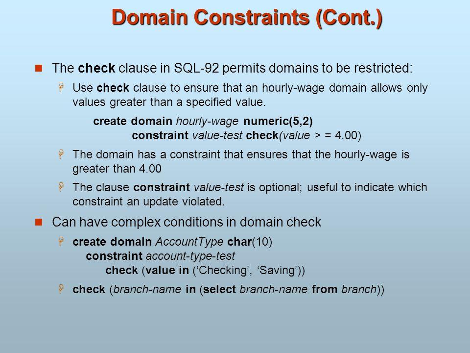 Domain Constraints (Cont.)