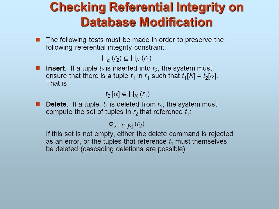 Checking Referential Integrity on Database Modification