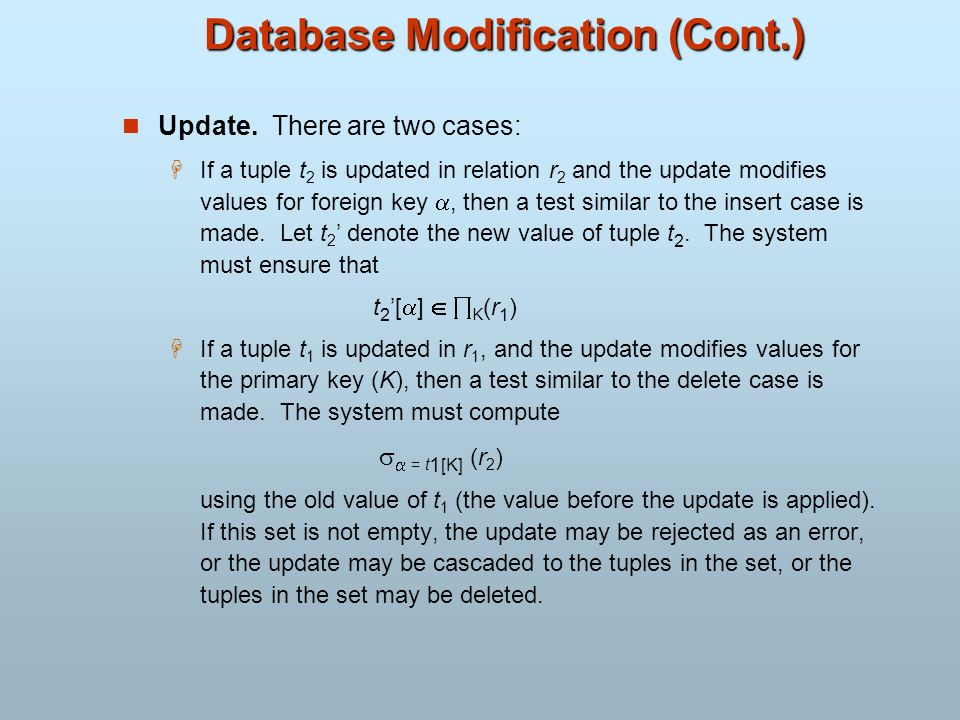 Database Modification (Cont.)