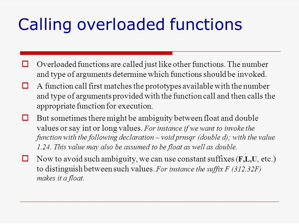 Calling overloaded functions