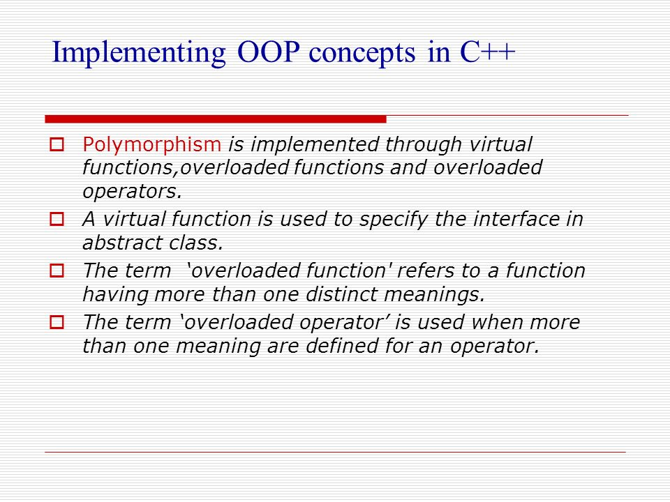 Implementing OOP concepts in C++
