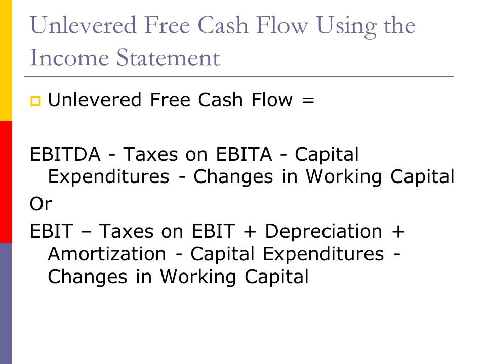 Difference Between Ebitda And Unlevered Free Cash Flow: Theory Behind the Discounted Cash Flow approach - ppt download,Chart