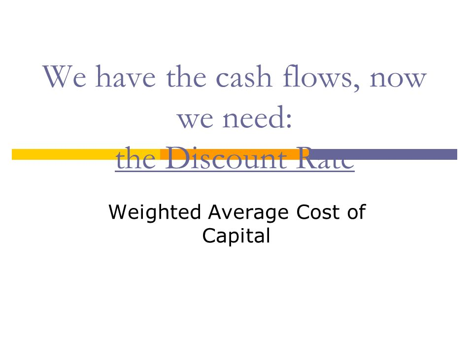 We have the cash flows, now we need: the Discount Rate