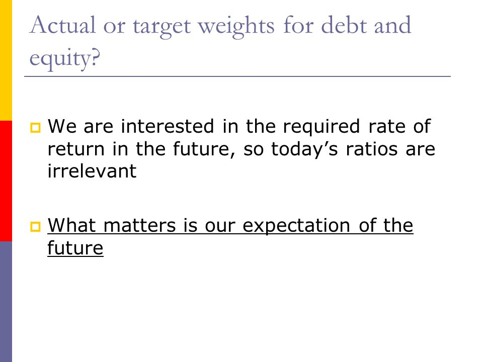 Actual or target weights for debt and equity