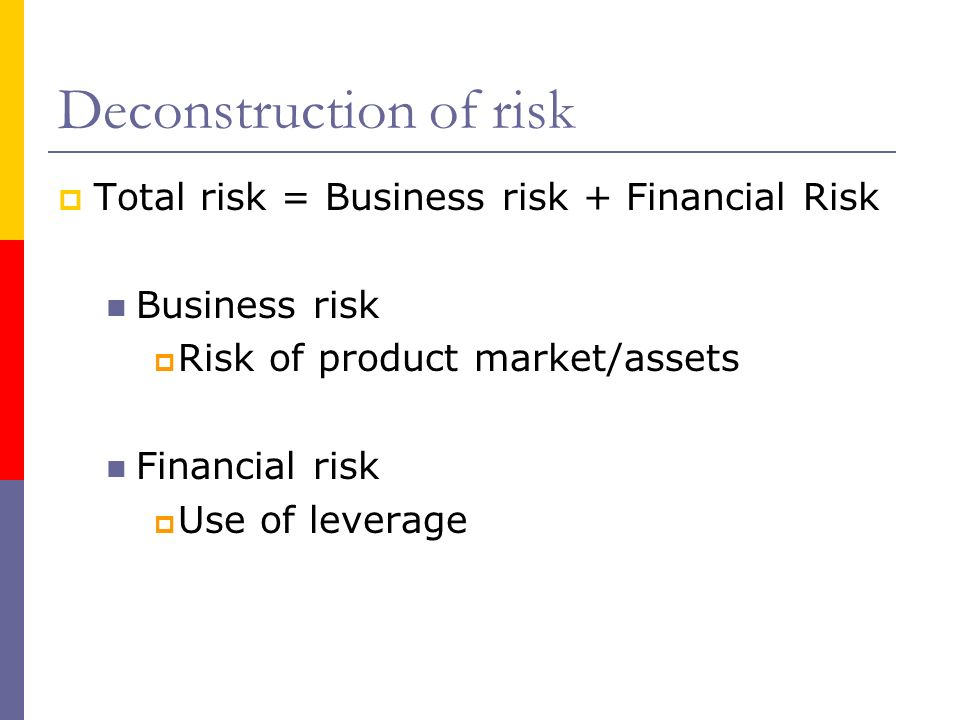 Deconstruction of risk