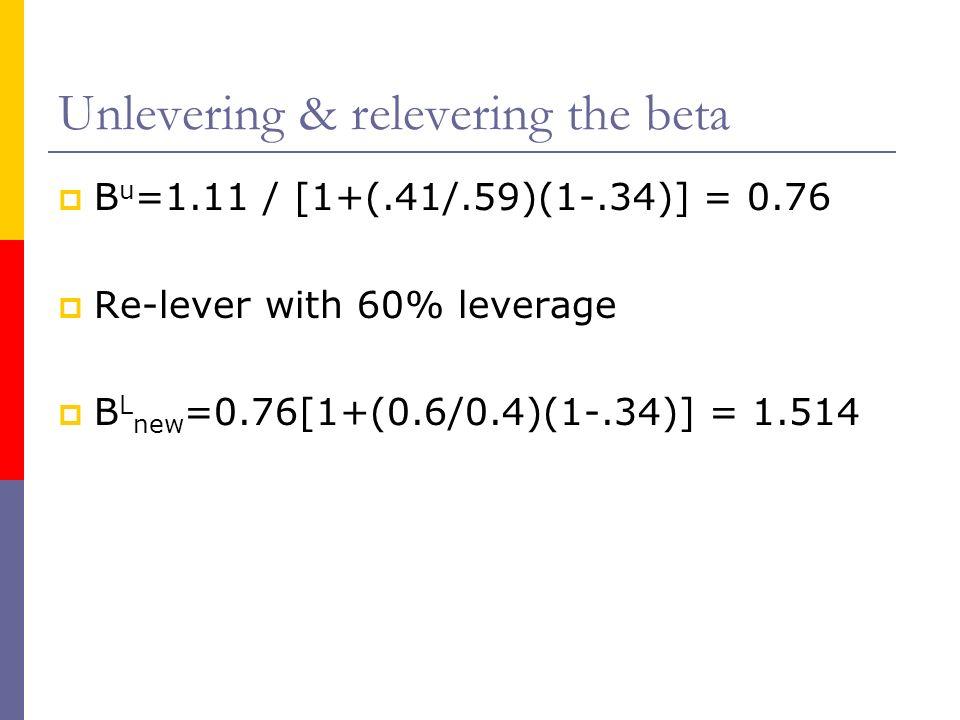 Unlevering & relevering the beta