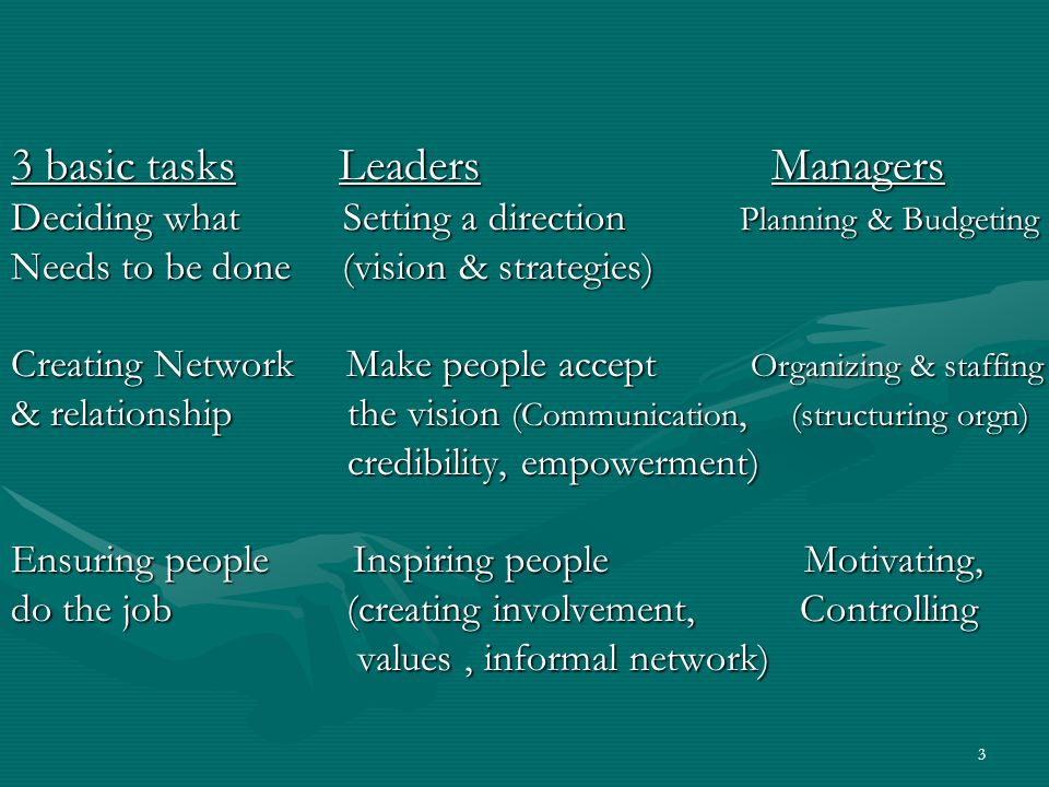 3 basic tasks Leaders Managers
