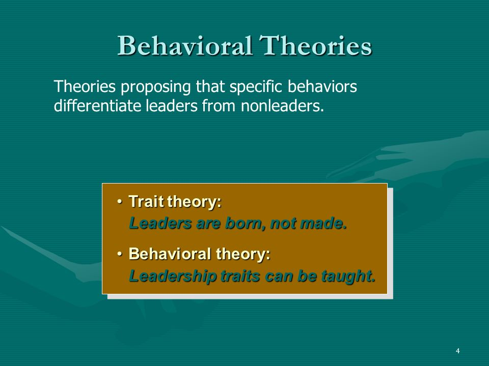 Behavioral Theories Theories proposing that specific behaviors differentiate leaders from nonleaders.