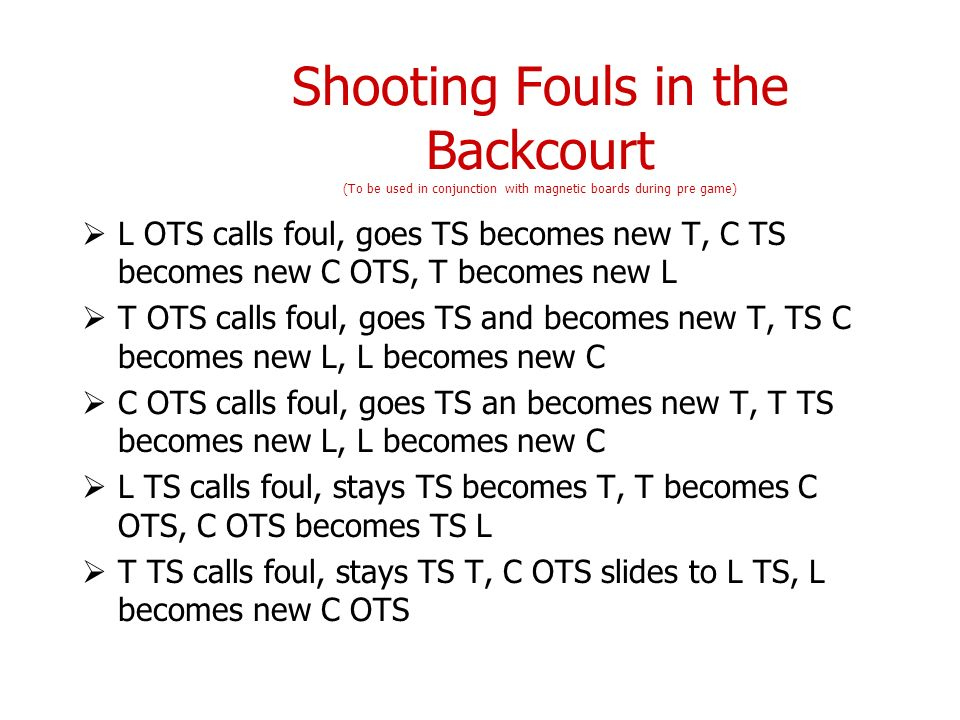 Shooting Fouls in the Backcourt (To be used in conjunction with magnetic boards during pre game)