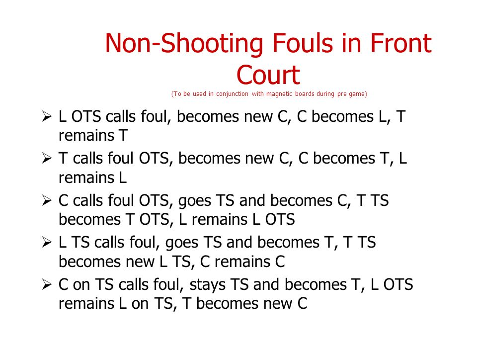 Non-Shooting Fouls in Front Court (To be used in conjunction with magnetic boards during pre game)