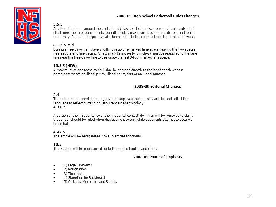 High School Basketball Rules Changes