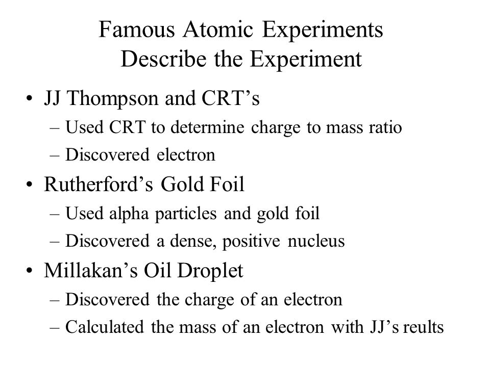 Famous Atomic Experiments Describe the Experiment