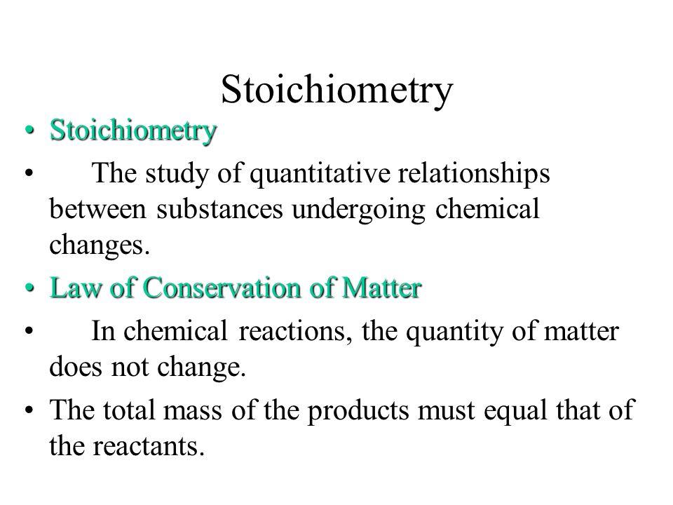 Stoichiometry Stoichiometry