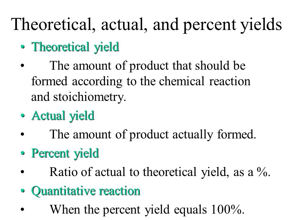 Theoretical, actual, and percent yields