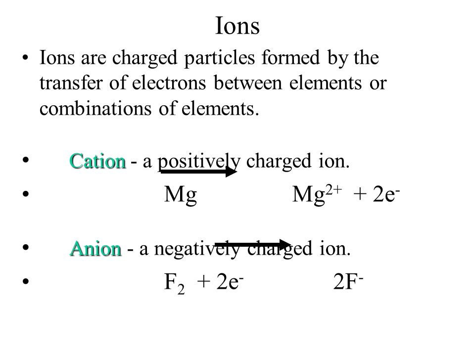 Ions Cation - a positively charged ion. Mg Mg2+ + 2e-