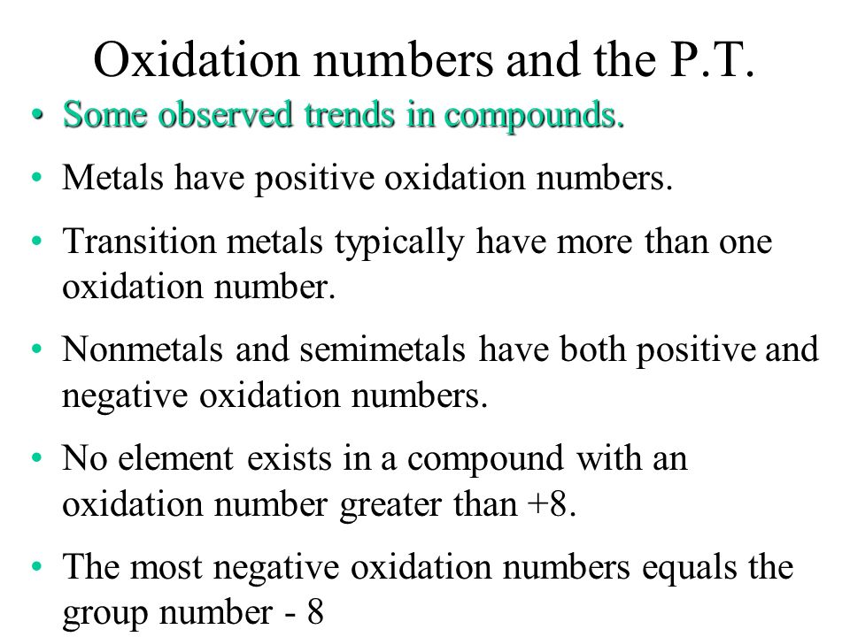 Oxidation numbers and the P.T.