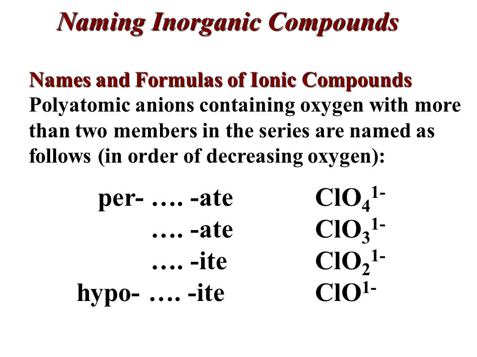Naming Inorganic Compounds