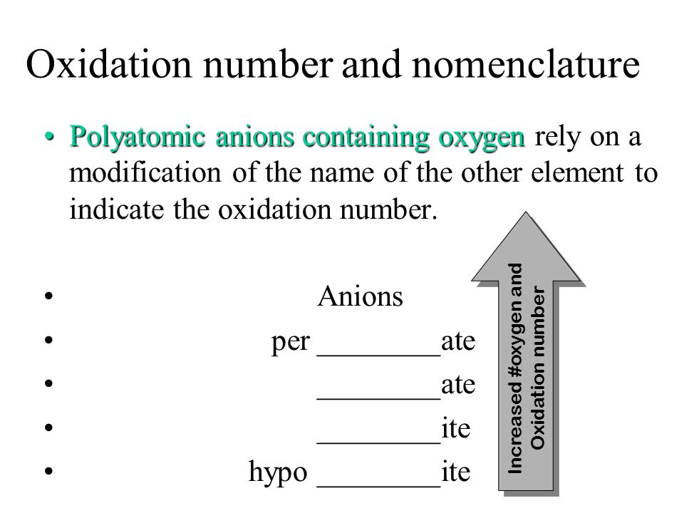 Oxidation number and nomenclature