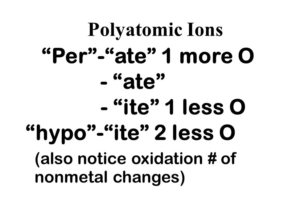 Per - ate 1 more O - ate - ite 1 less O hypo - ite 2 less O