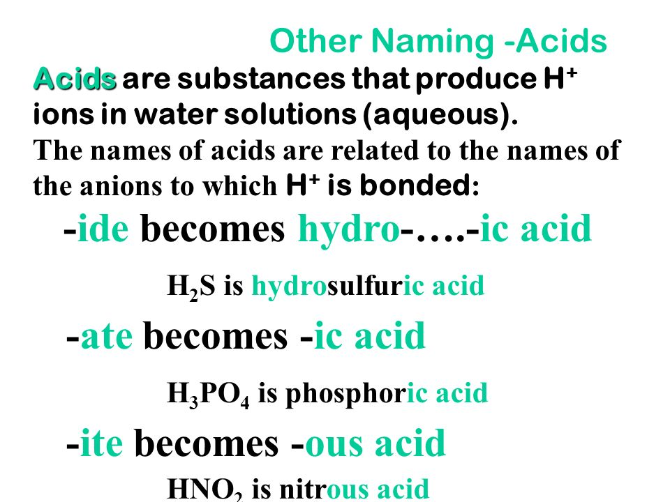 -ide becomes hydro-….-ic acid -ate becomes -ic acid