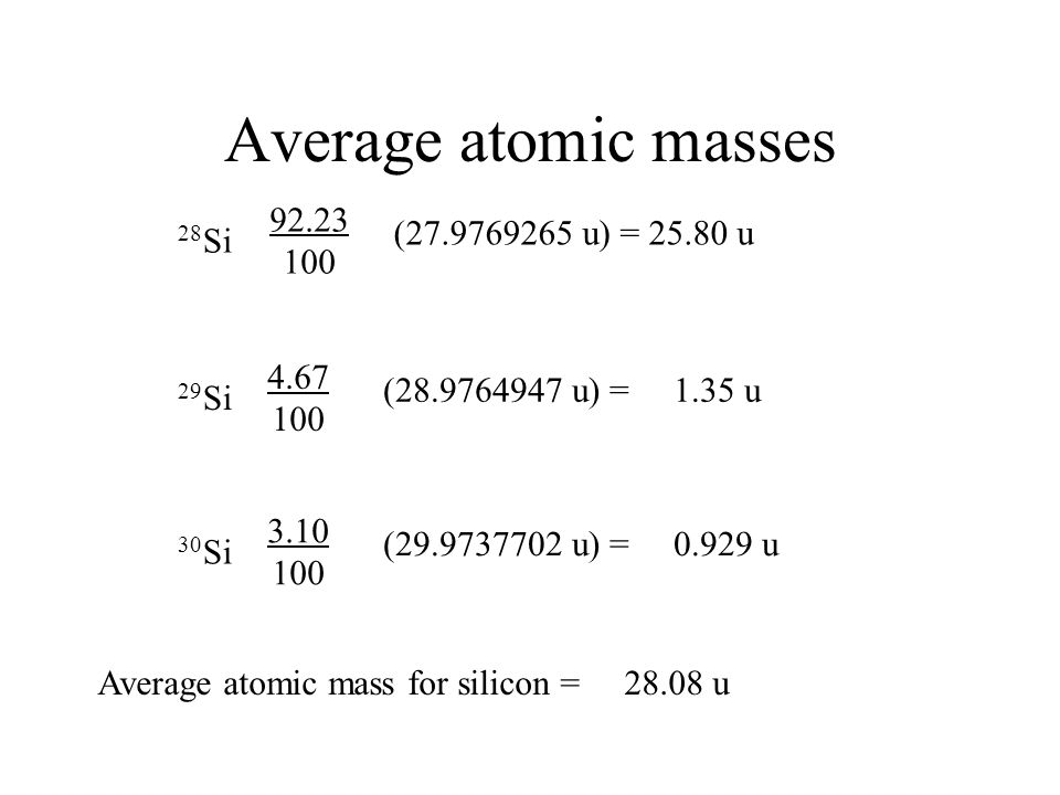Average atomic masses 92.23 (27.9769265 u) = 25.80 u 28Si 100 4.67
