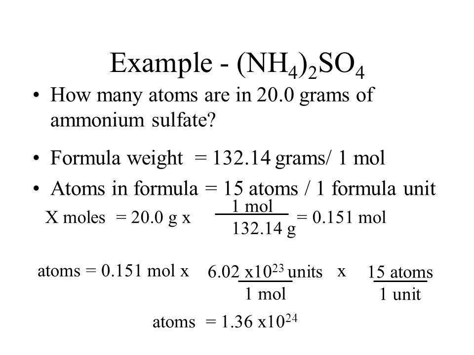 Example - (NH4)2SO4 How many atoms are in 20.0 grams of ammonium sulfate Formula weight = 132.14 grams/ 1 mol.