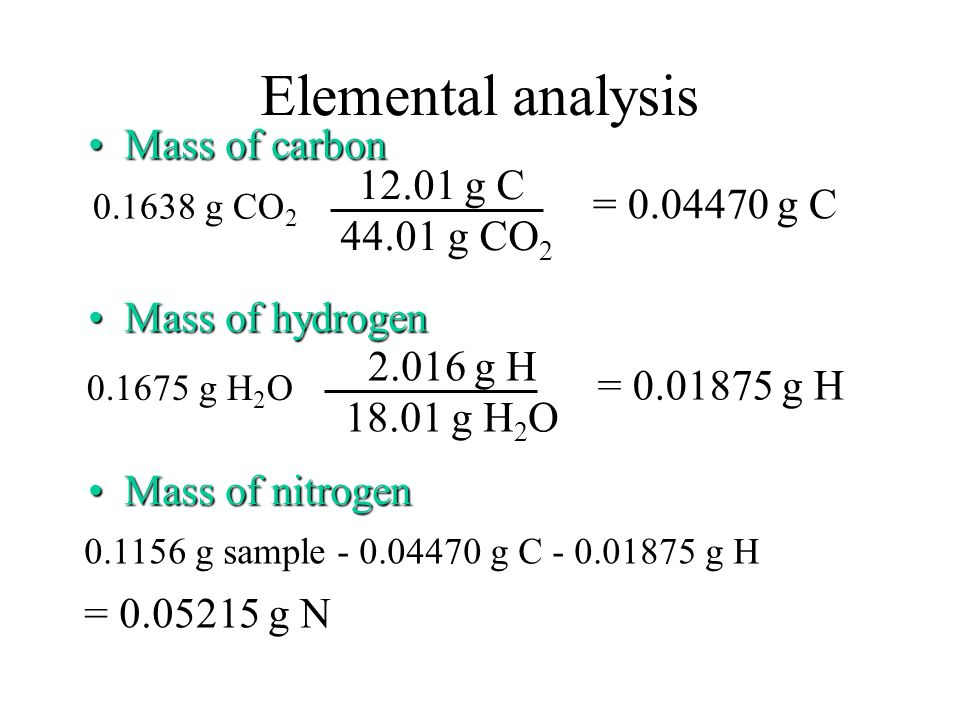 Elemental analysis Mass of carbon 12.01 g C = 0.04470 g C 44.01 g CO2
