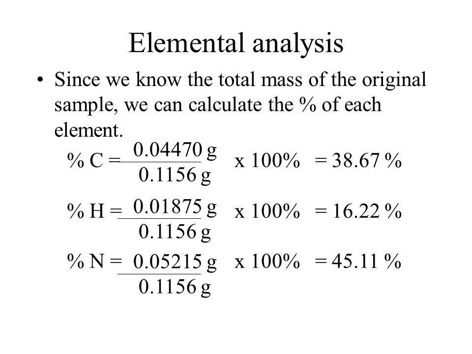 Elemental analysis Since we know the total mass of the original sample, we can calculate the % of each element.