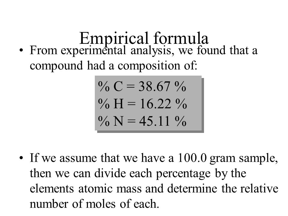 Empirical formula % C = 38.67 % % H = 16.22 % % N = 45.11 %