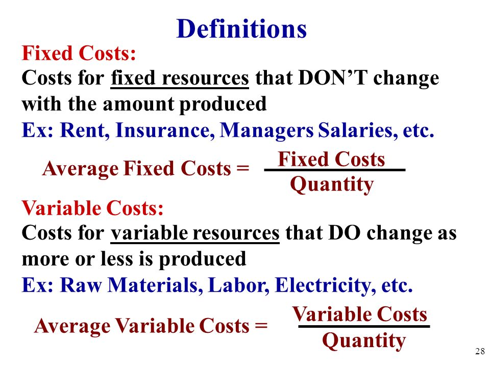Definitions Fixed Costs: