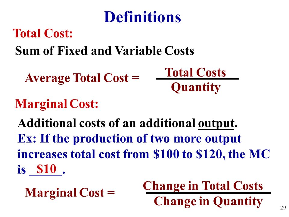 Definitions Total Cost: Sum of Fixed and Variable Costs Total Costs