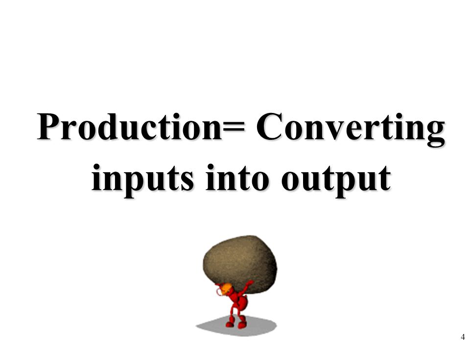 Production= Converting inputs into output