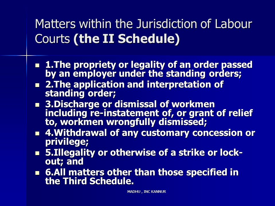 Matters within the Jurisdiction of Labour Courts (the II Schedule)