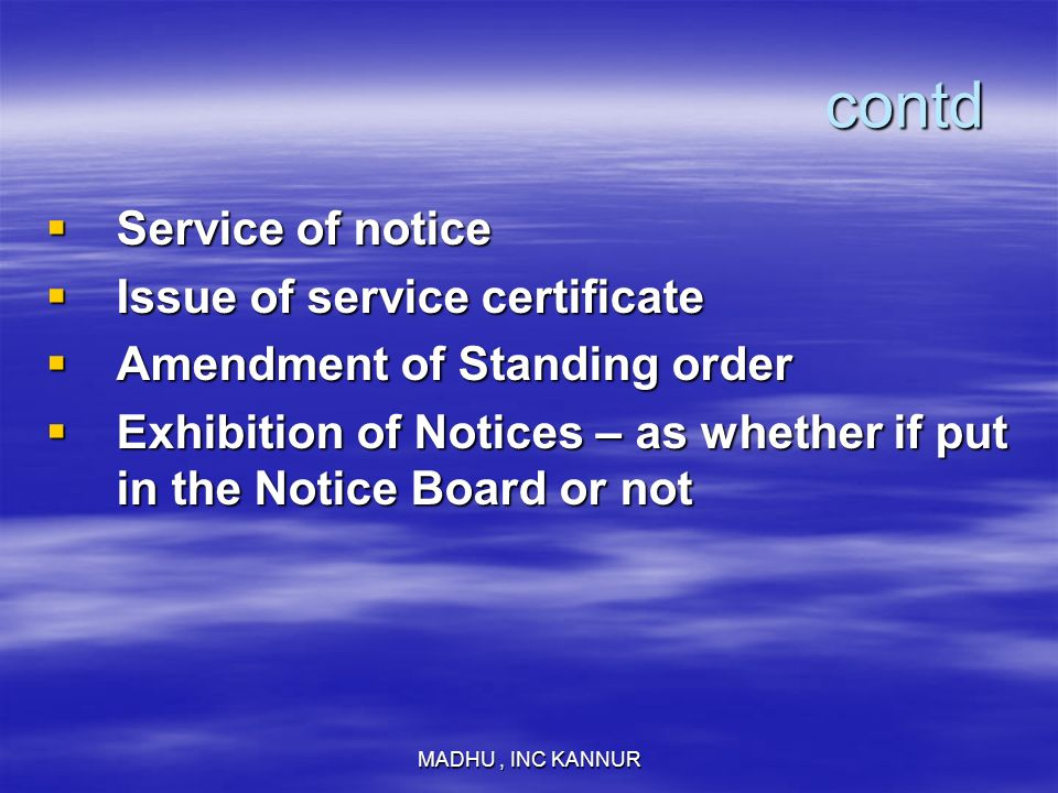 contd Service of notice Issue of service certificate