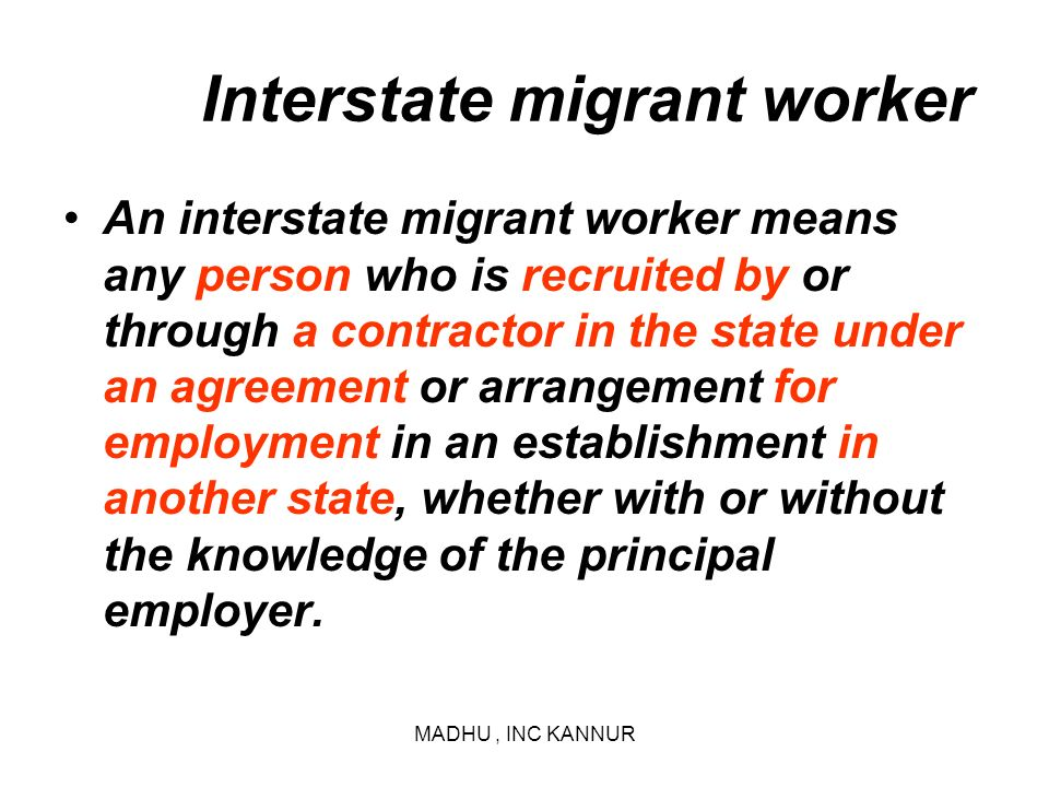 Interstate migrant worker
