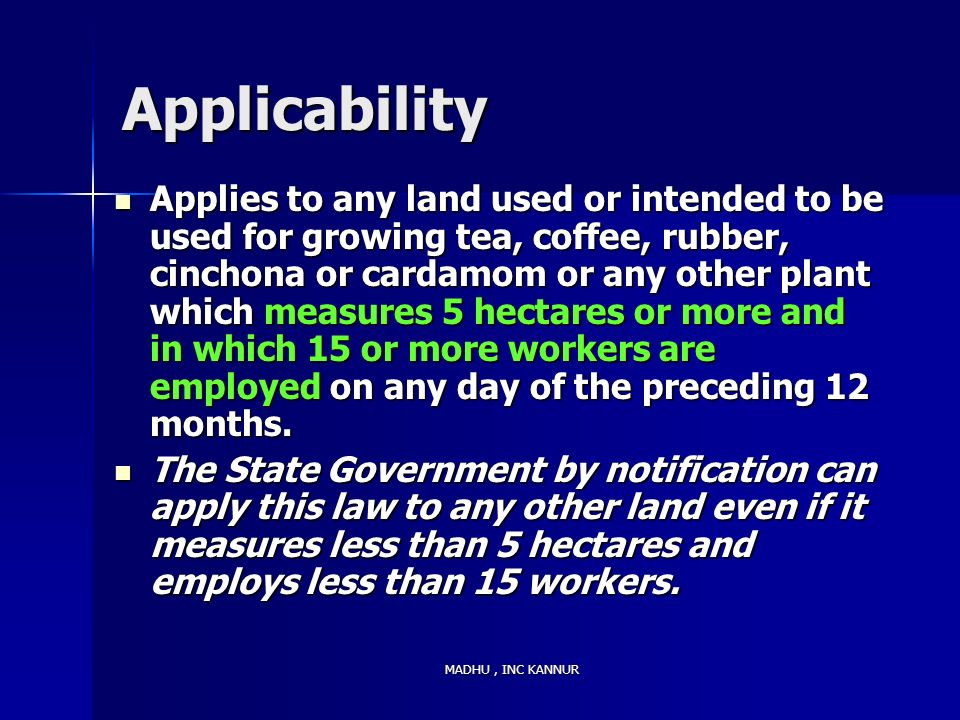 Applicability