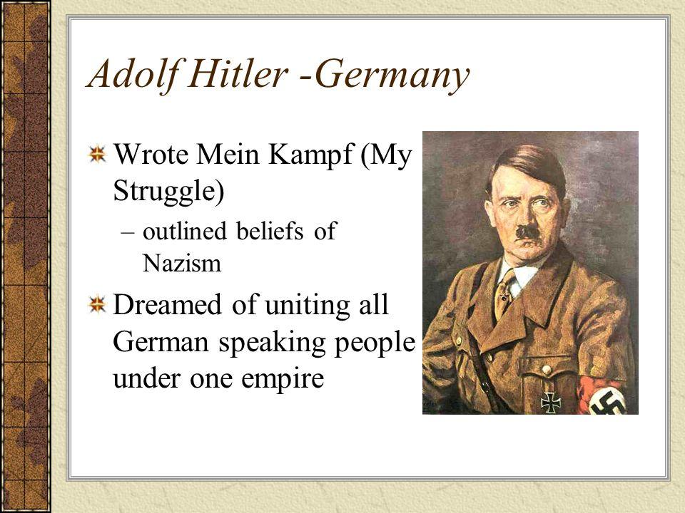 Adolf Hitler -Germany Wrote Mein Kampf (My Struggle)