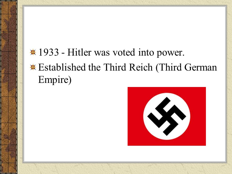 1933 - Hitler was voted into power.