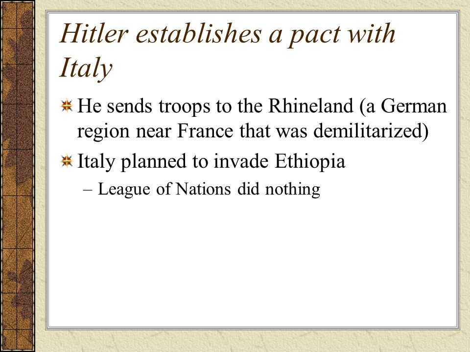 Hitler establishes a pact with Italy