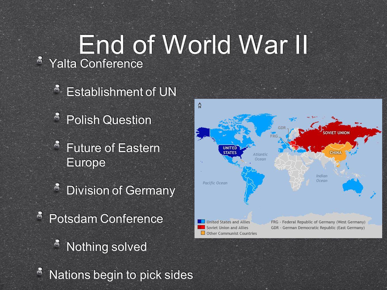 End of World War II Yalta Conference Establishment of UN