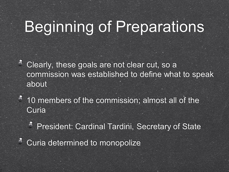 Beginning of Preparations