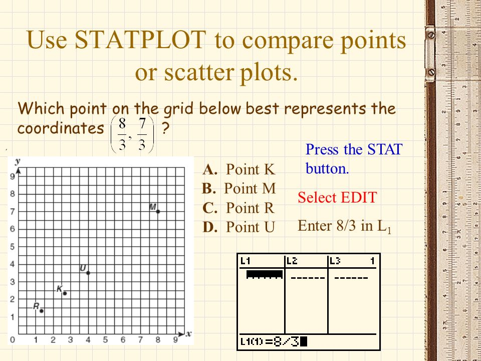Use STATPLOT to compare points or scatter plots.
