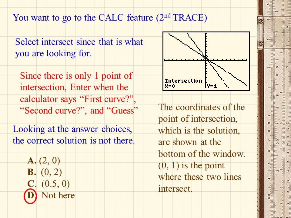 You want to go to the CALC feature (2nd TRACE)