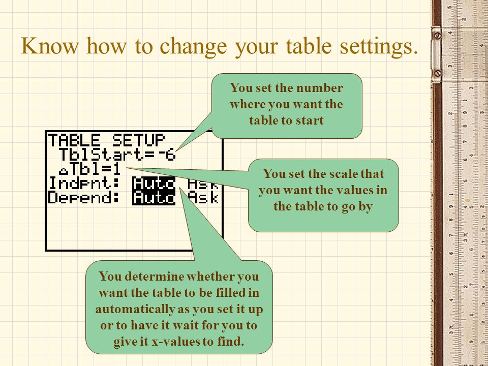 Know how to change your table settings.
